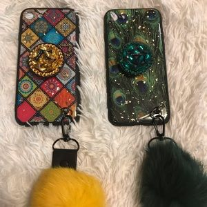 iPhone7  case  with wrist strap and pop socket
